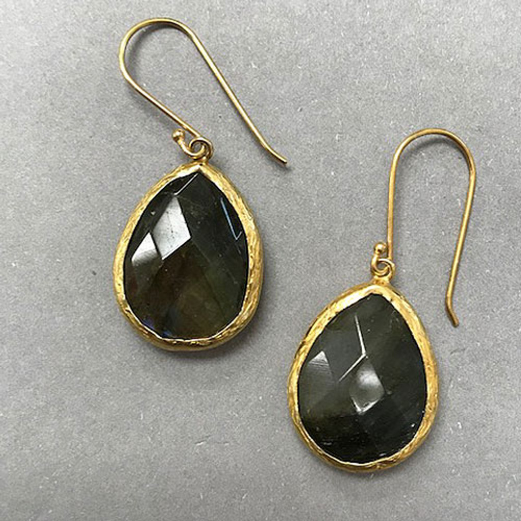 Genuine Labradorite Bezel Set Teardrop In Gold Vermeil