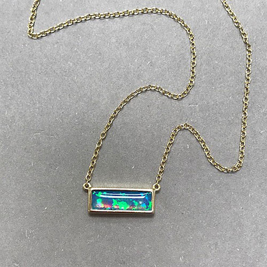 Blue Opal Rectangle Dainty Necklace