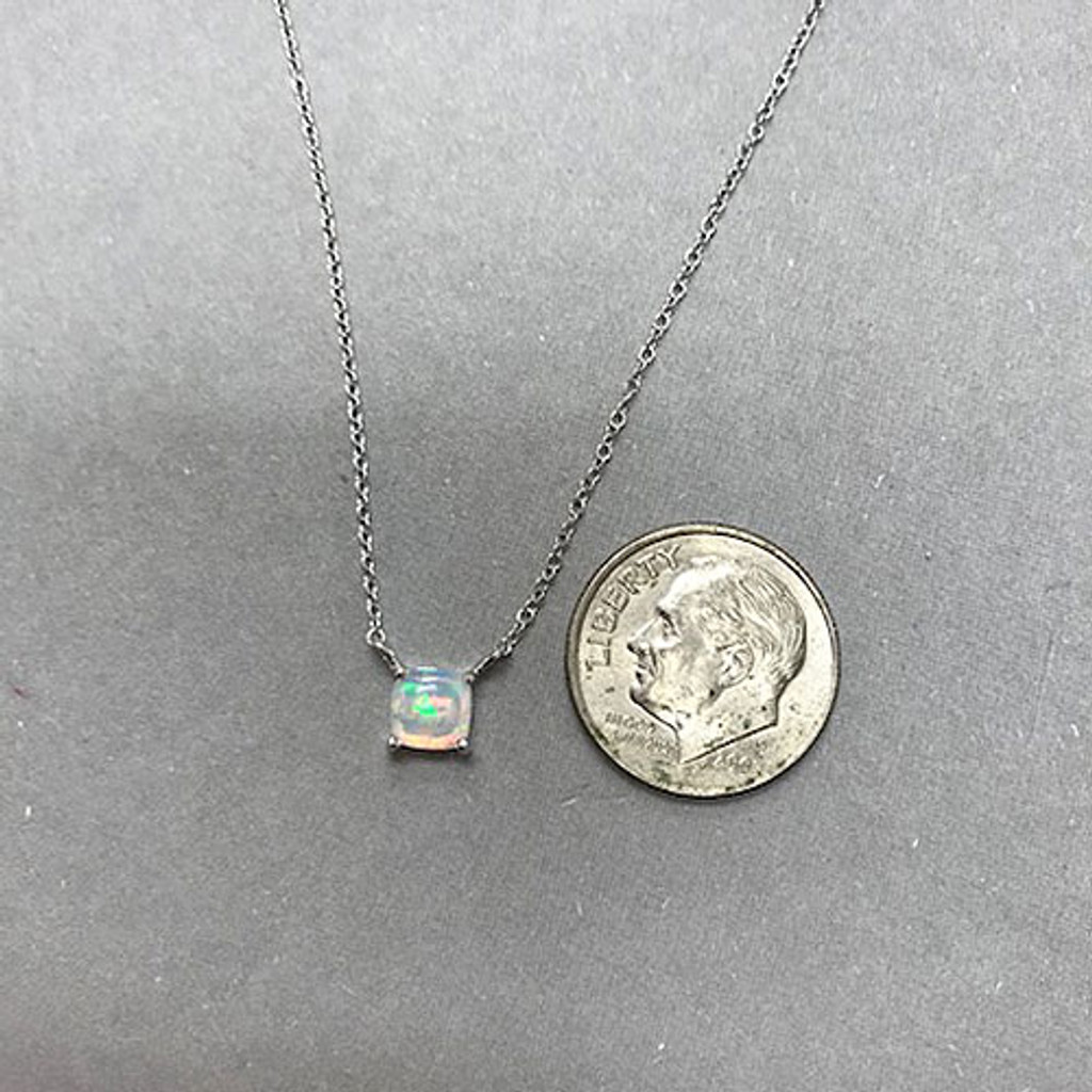 Petite White Opal Solitaire Necklace