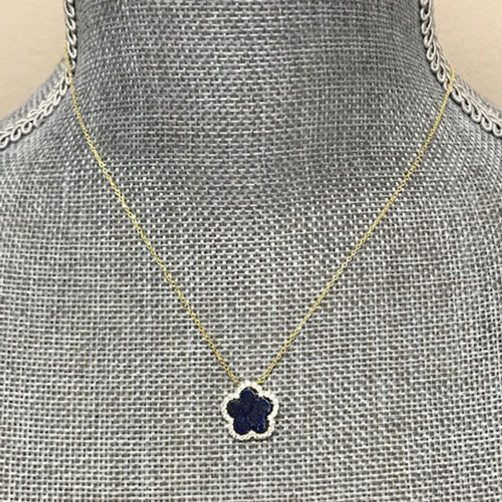 Genuine Lapis Flower with Cubic Zirconia Necklace