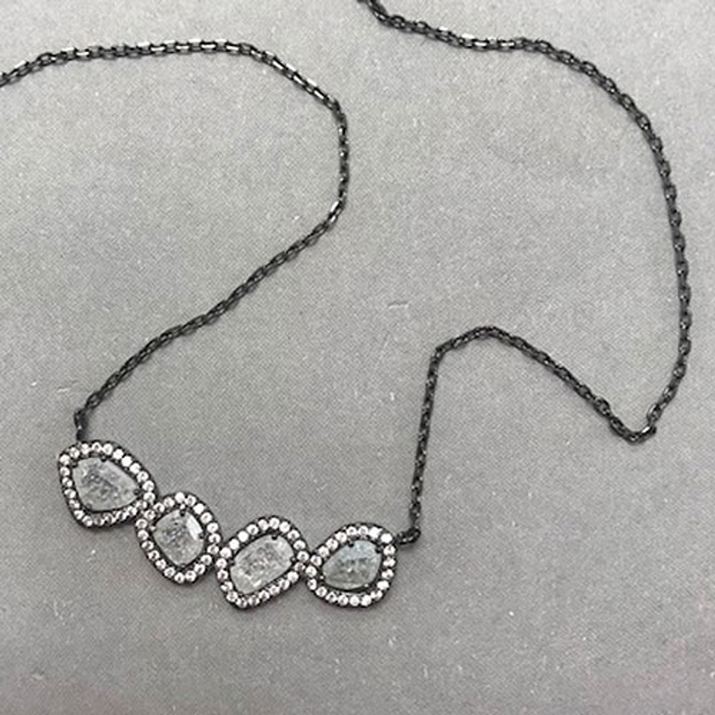 White Polished Quartz & Cubic Zirconia Bar Necklace