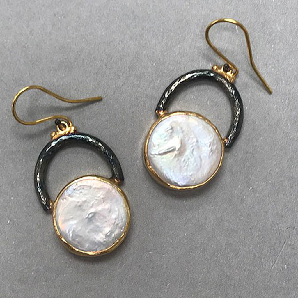 Modern Pearl Sculptural Design Earrings
