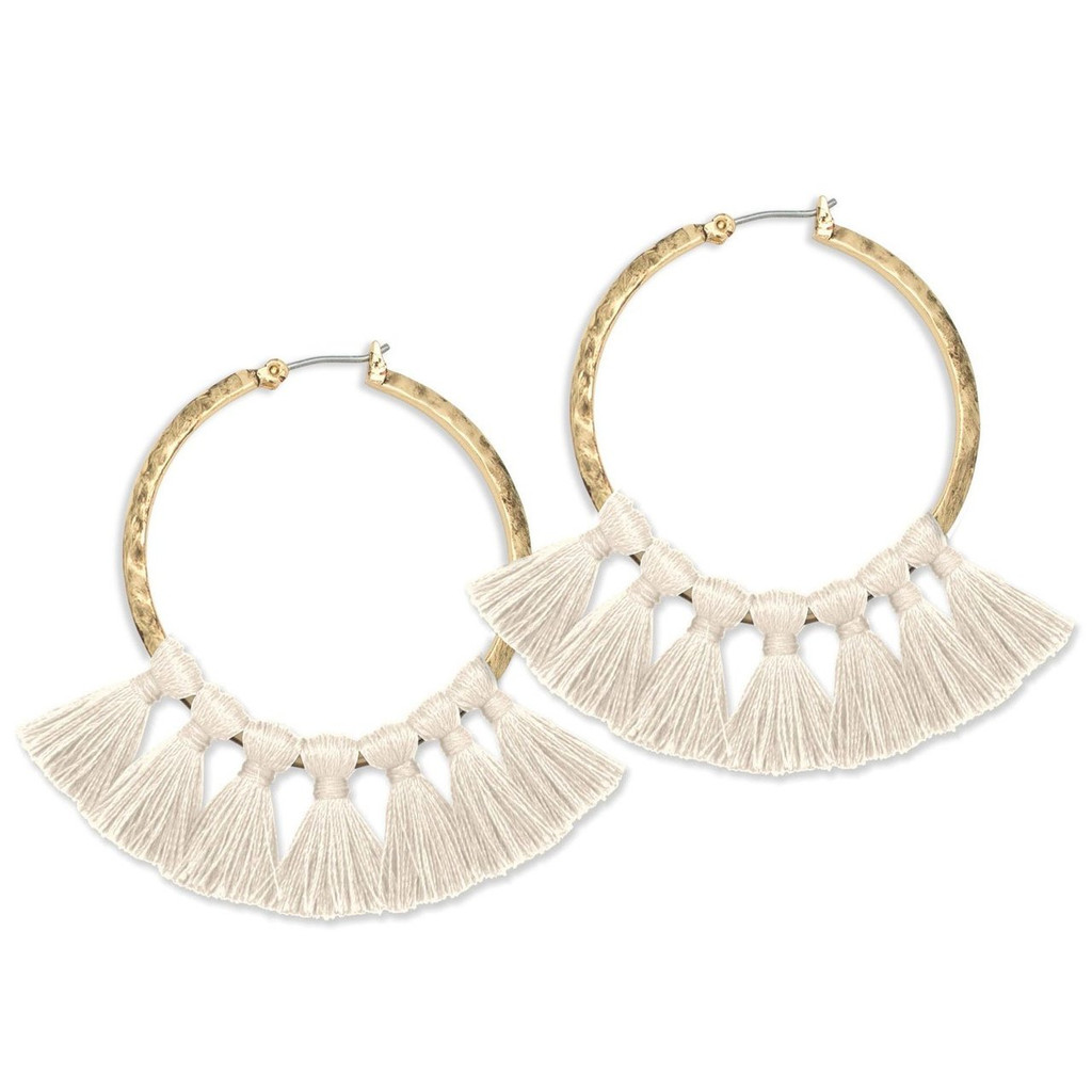 Tribe's Hammered Tassel Hoops