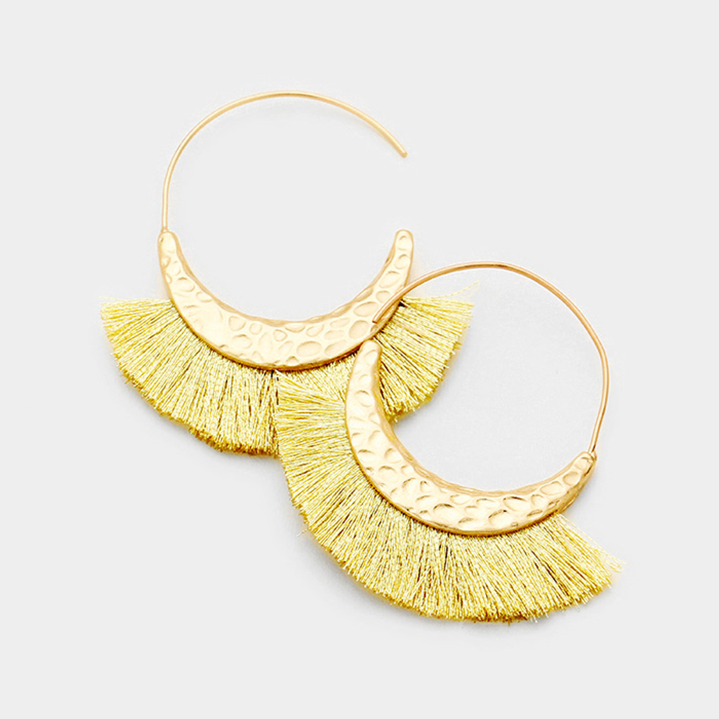 Kyky&Zo Fringe Hammered Goldtone Hoops