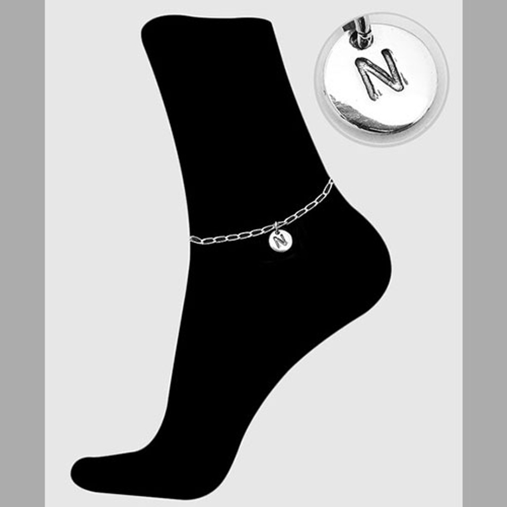 Sterling Silver Initial Ankle Bracelets