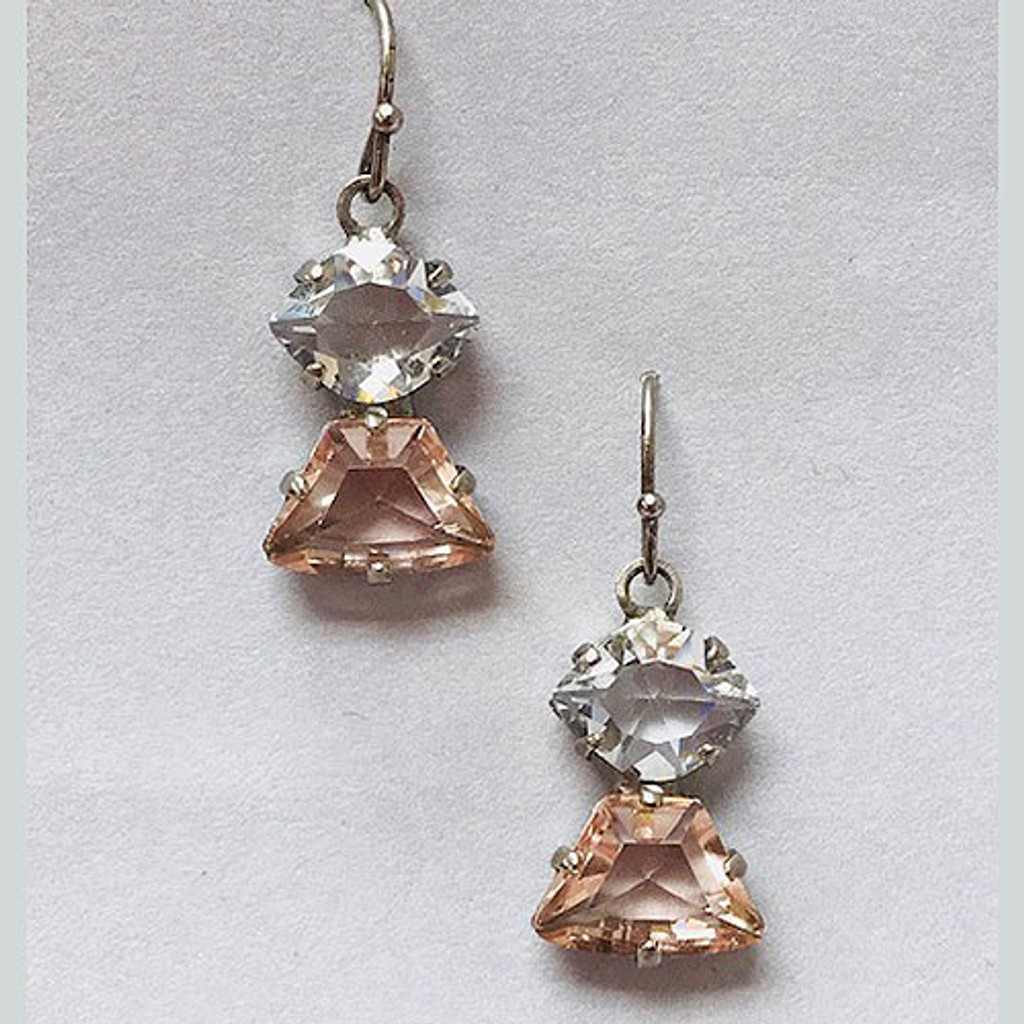 Sorrelli Clear Crystal and Light Rose Crystal Dangle