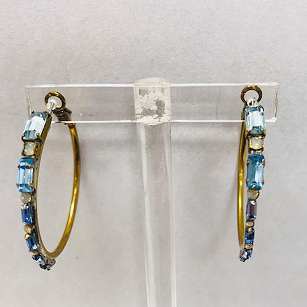 Sorrelli Blue Baguettes On an Antiqued Gold Hoop Earring
