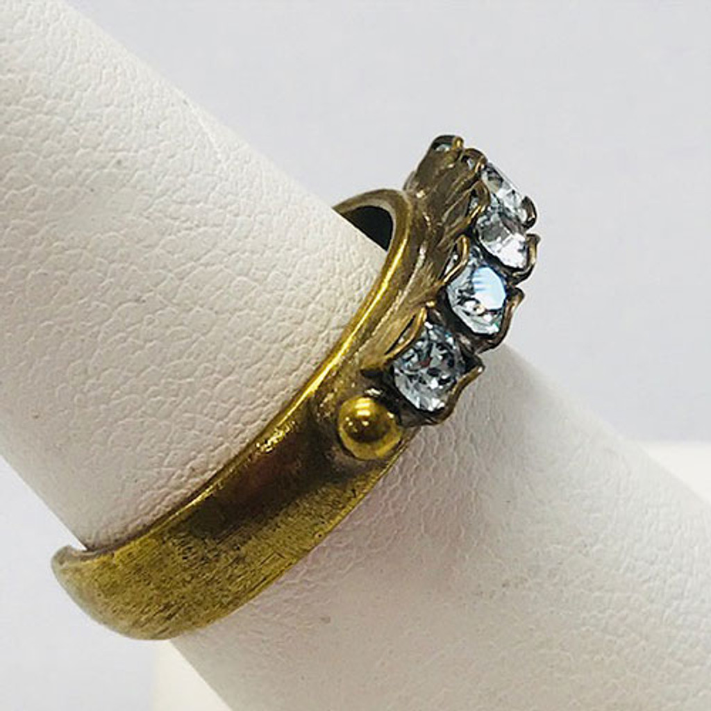 Sorrelli Simple Band of Light Blue Sapphire Crystals Ring