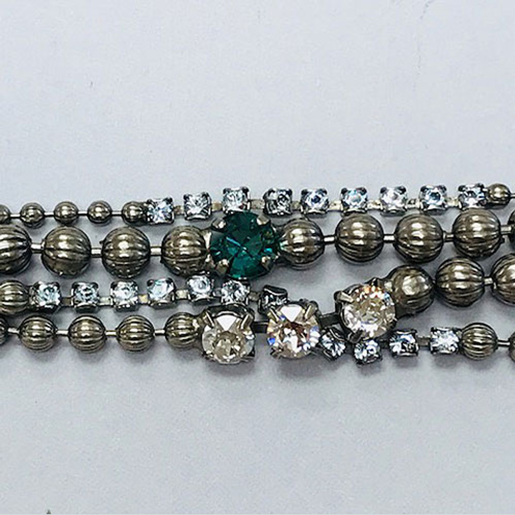 Sorrelli Four Chain,Crystals and Beads Bracelet