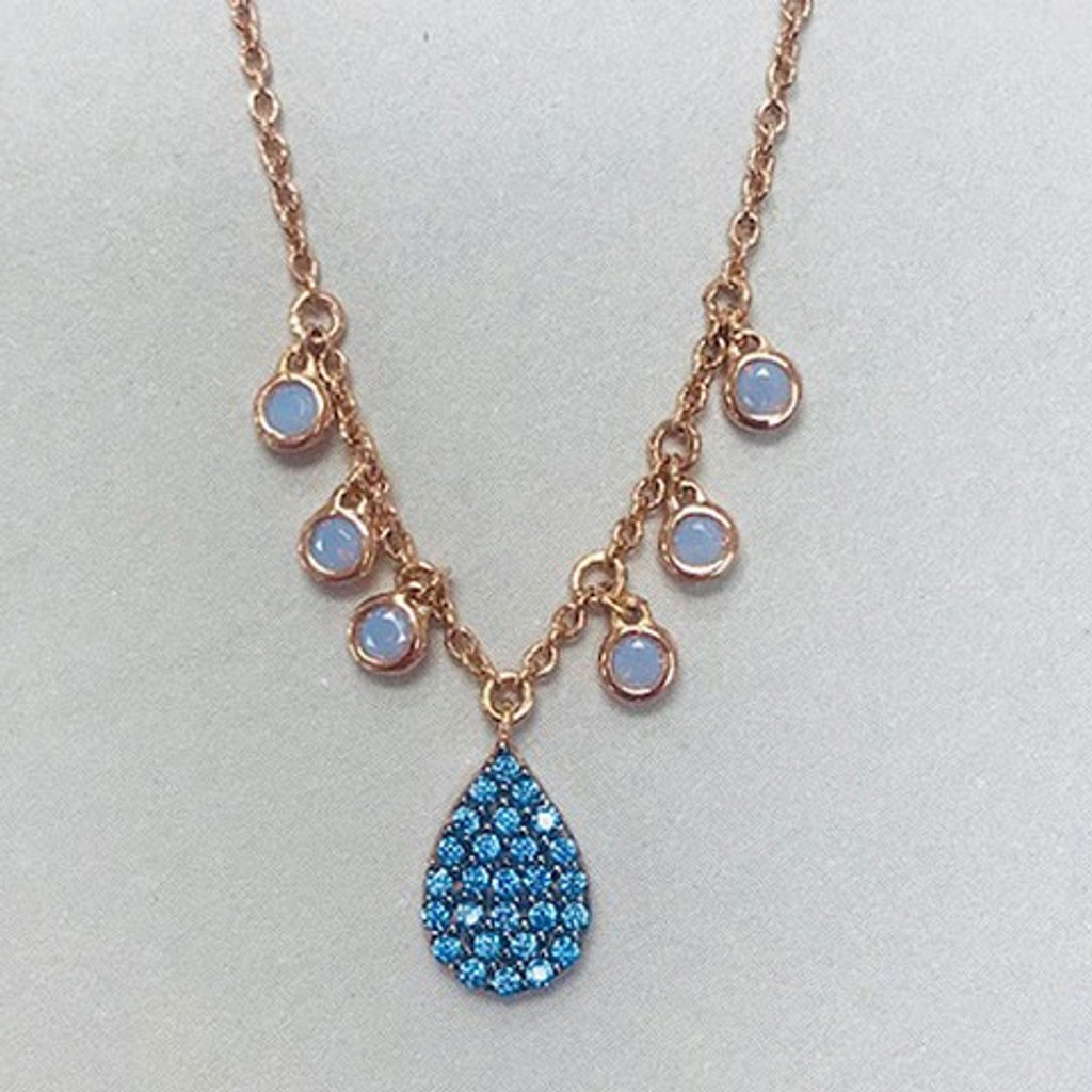 Blue Opal With Rose Gold Teardrop Necklace