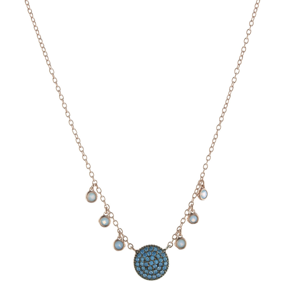 Blue Crystal and Opal With Rose Gold Circle Necklace