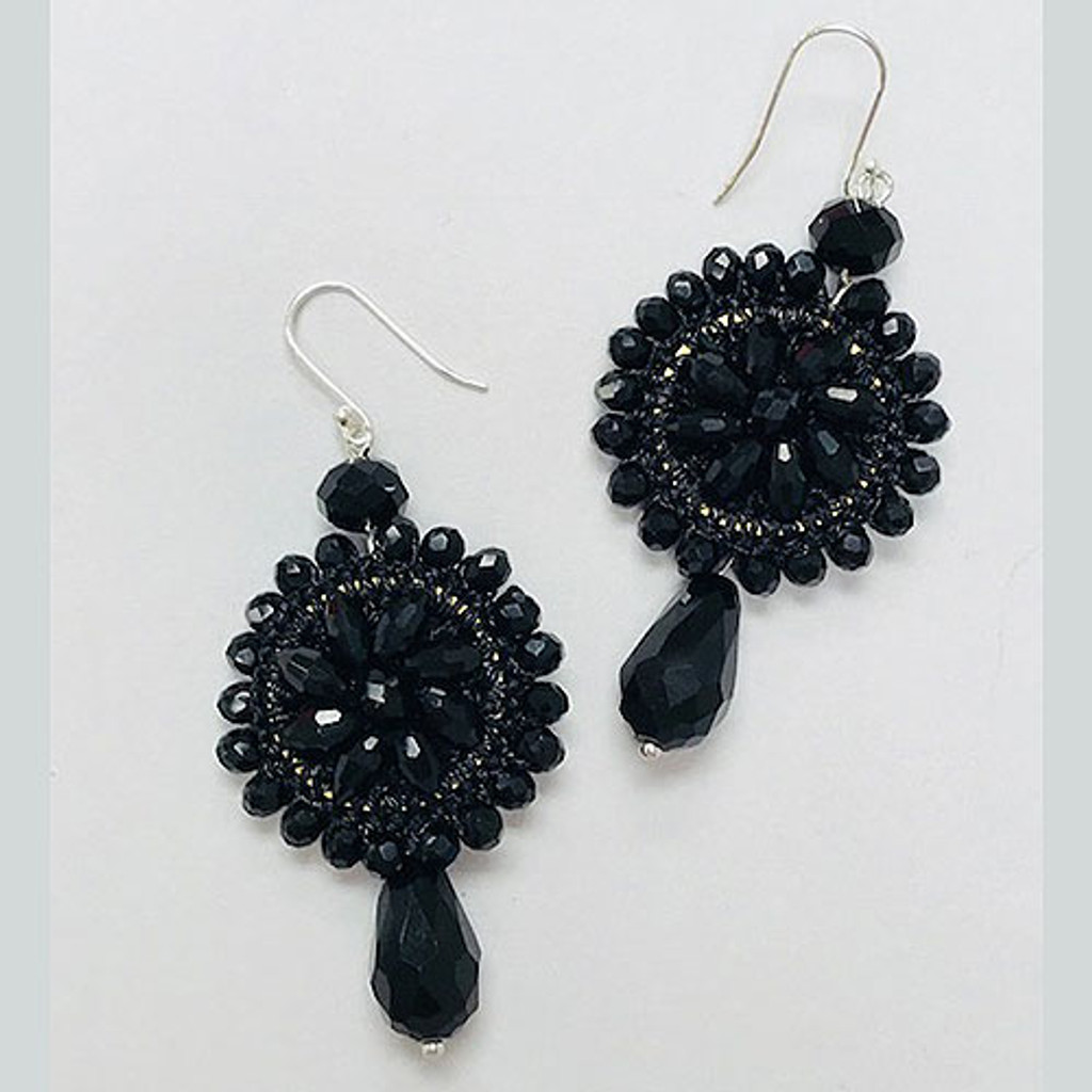 Jet Black Crystal Crocheted Medallion Earring