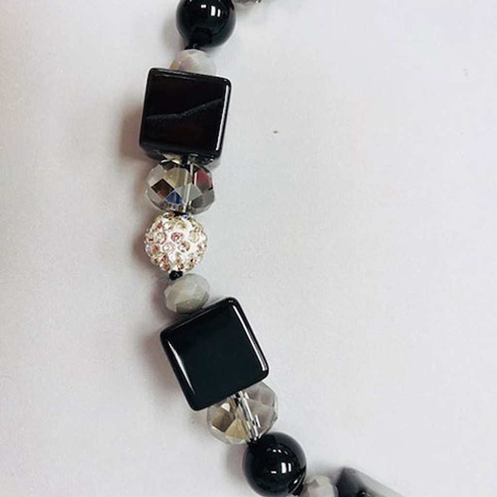 Polished Onyx Square Beads with Gray Crystals Necklace