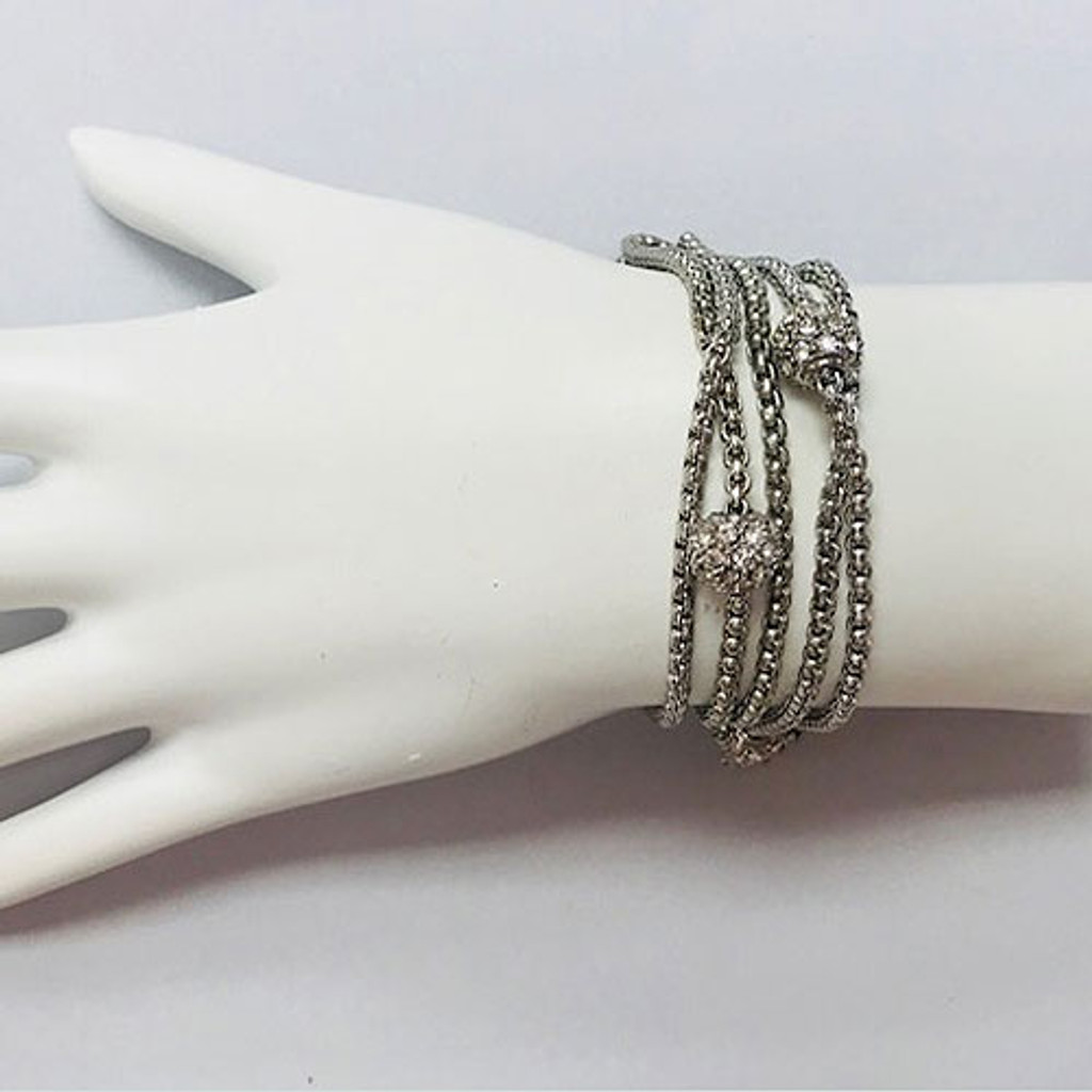 Five Strand Rhodium & CZ Ball Bracelet