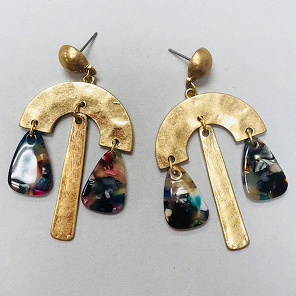 Multi-Colored Resin Hammered Dangle Earring