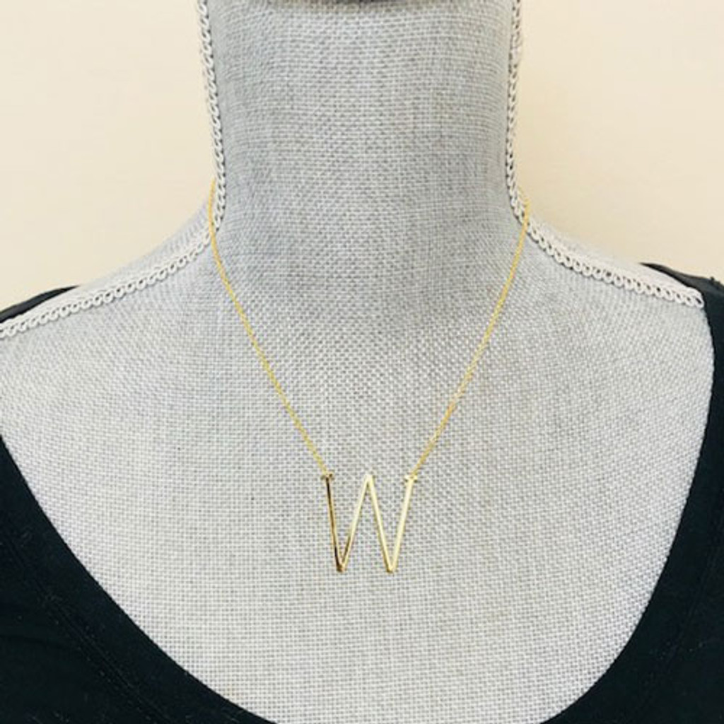 """Our Wonderful 1 1/4"""" Sideways Initial Necklaces in Gold"""