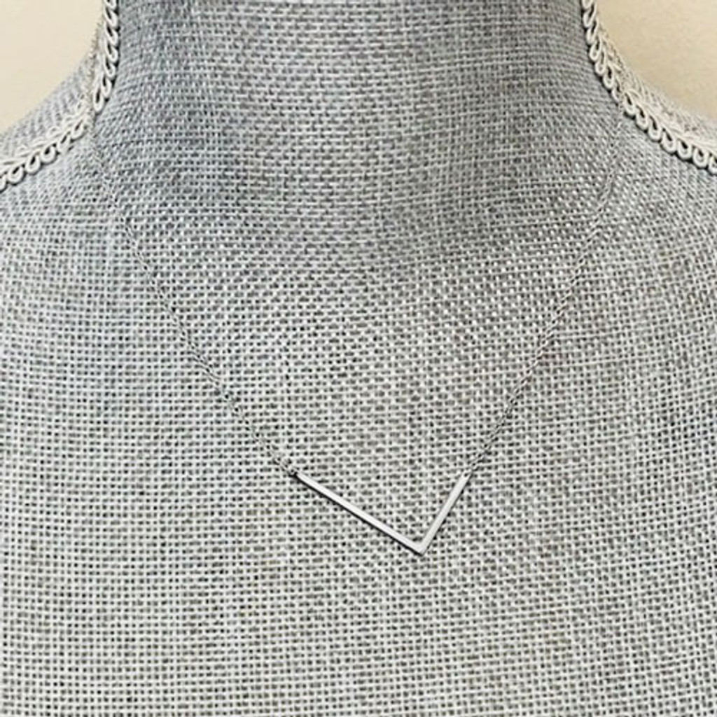 "Our Wonderful 1 1/4"" Sideways Initial Necklaces In Silver"