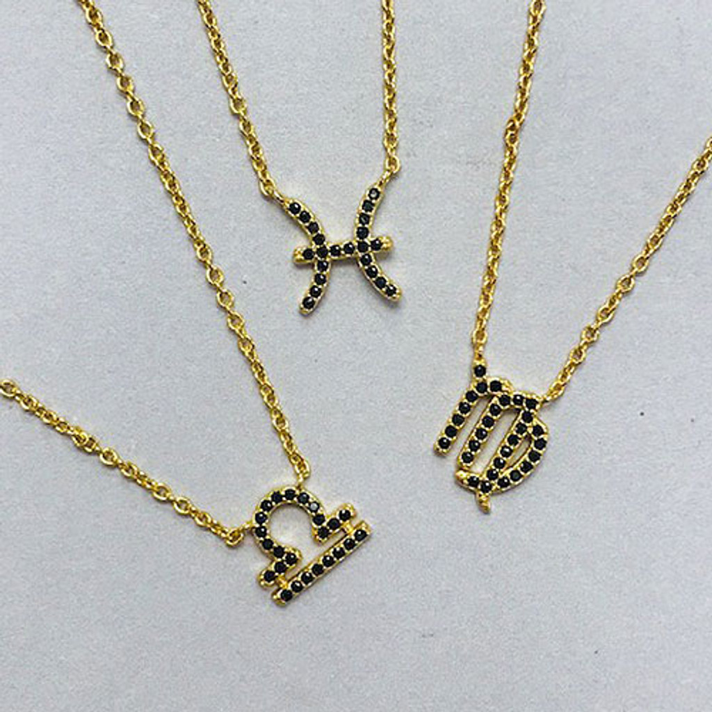 Dainty Jet Black CZ Zodiac Sign Necklaces