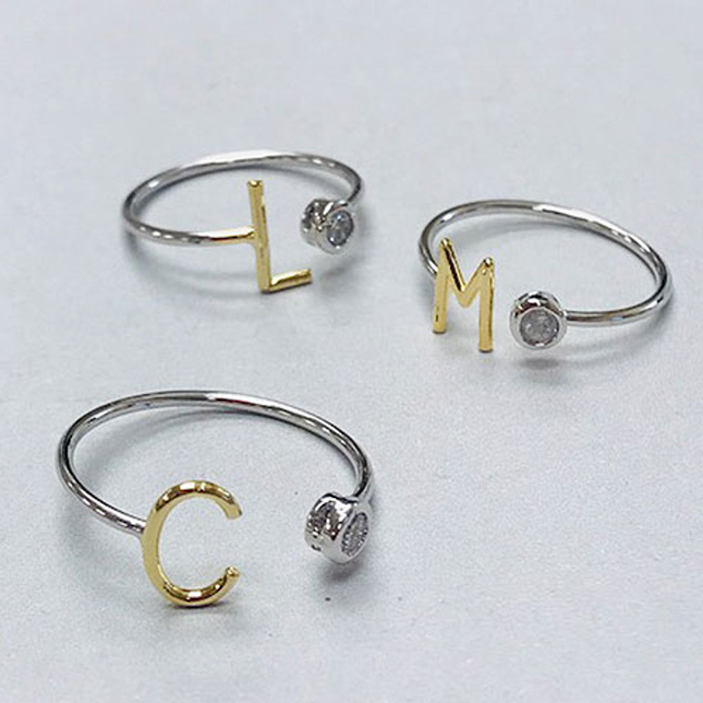 Lil' Initial Ring With CZ