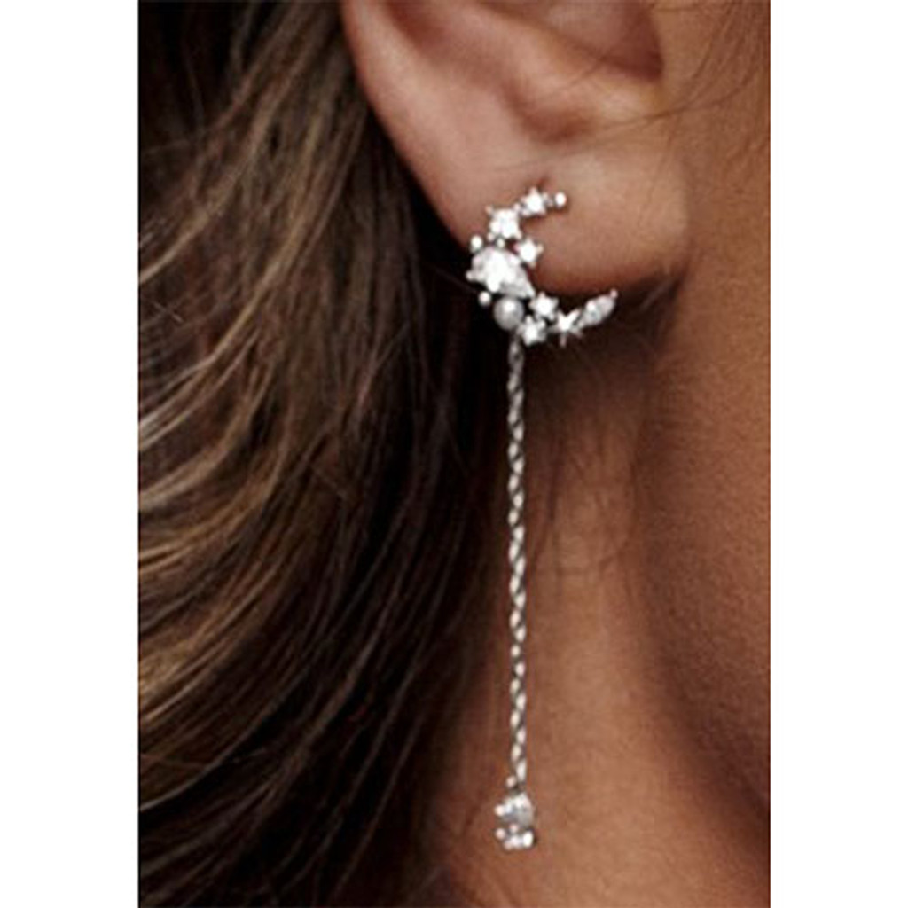 Mystical Moon with Dangling Crystal Star Earring in Silver
