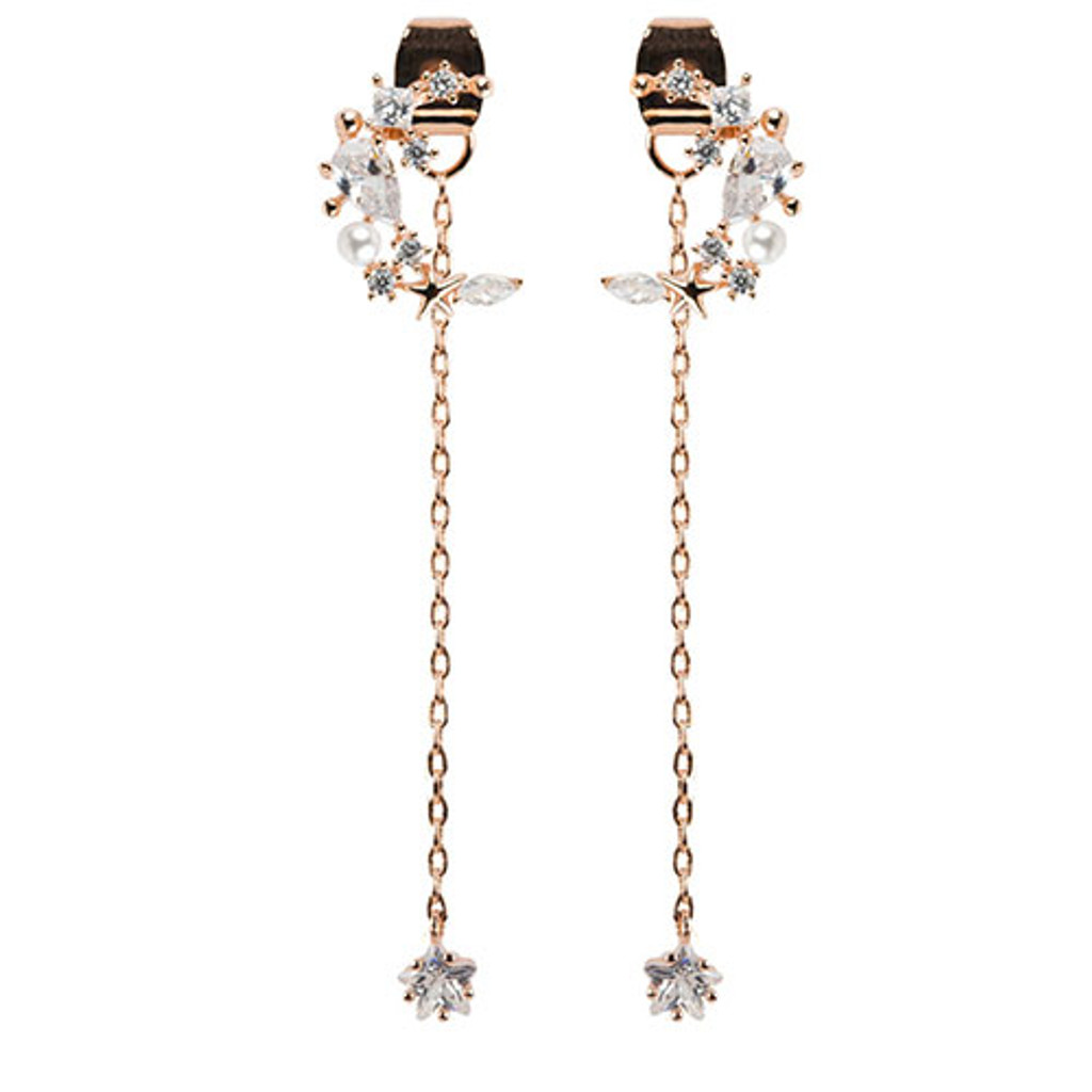 Mystical Moon with Dangling Crystal Star Earring in Rose Gold