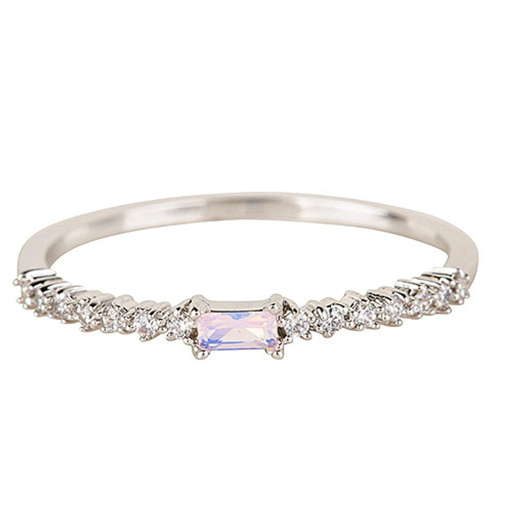 Dainty Cubic Zirconia with Baguette Ring Silver