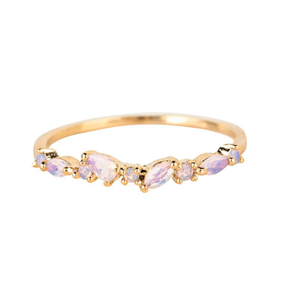 Dainty Multi-Opal Slender Band Ring Gold
