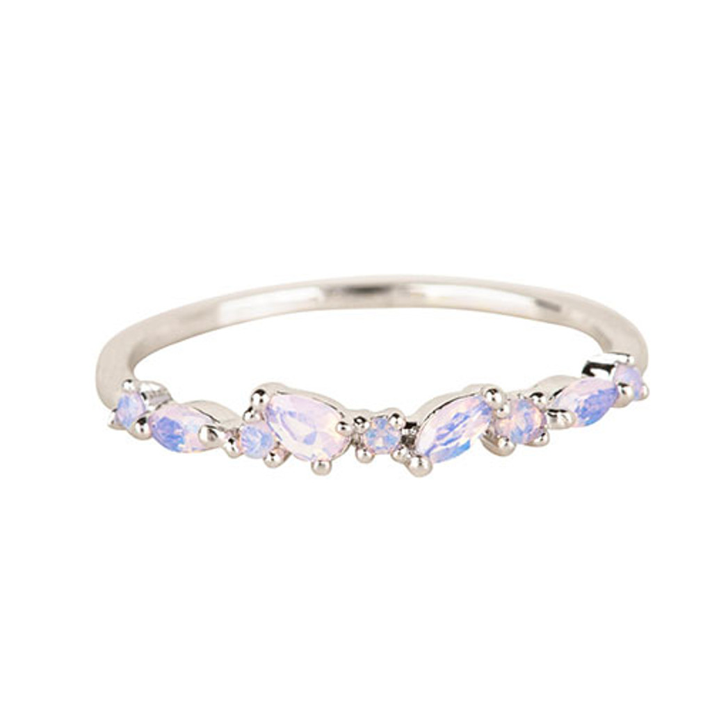Dainty Multi-Opal Slender Band Ring Silver