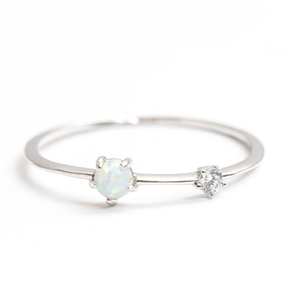 Dainty Two Stone Ring Silver