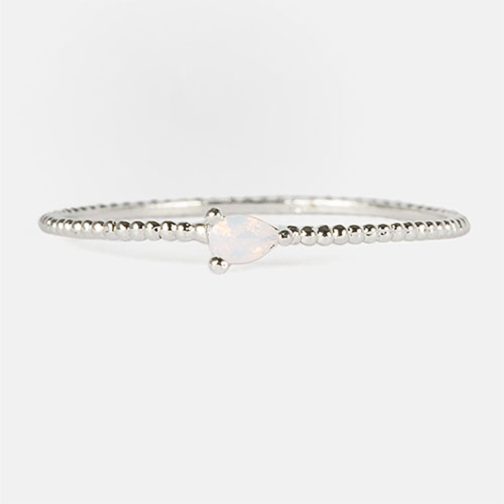 Dainty SilverDot Band with Tiny Pair-Cut Opal Stone