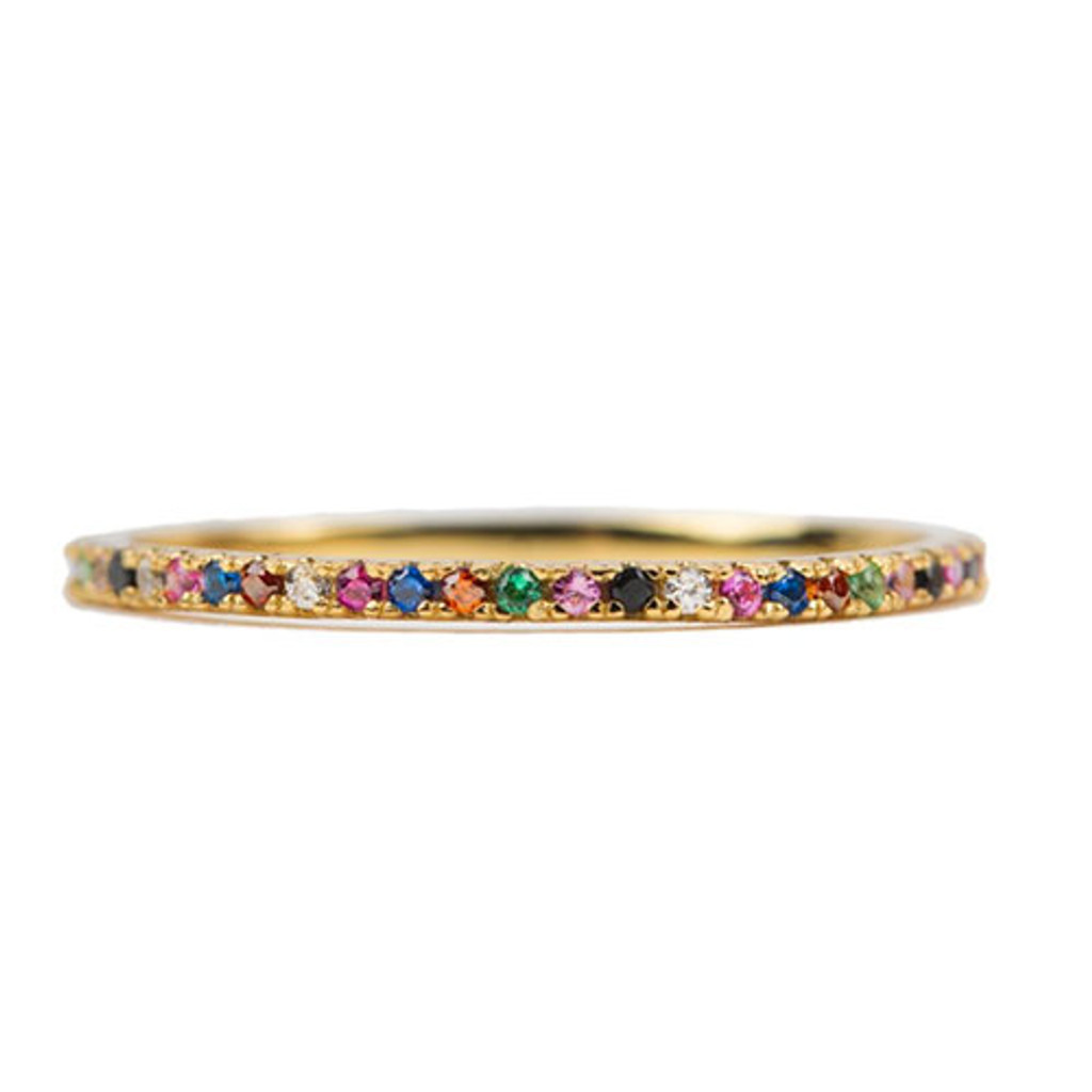 Dainty Multi-Colored Stone Band Gold