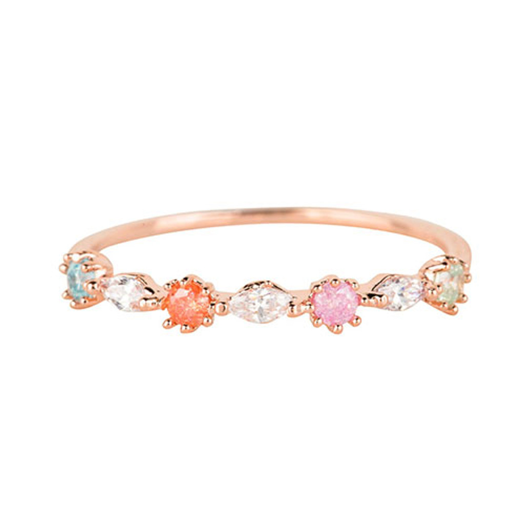 Dainty Pastel Cubic Zirconia Ring Rose Gold
