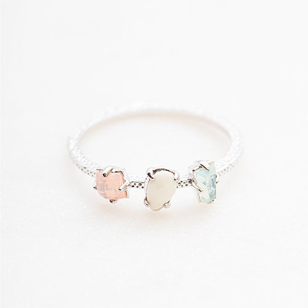 Dainty Three Stone Pastel Ring Silver