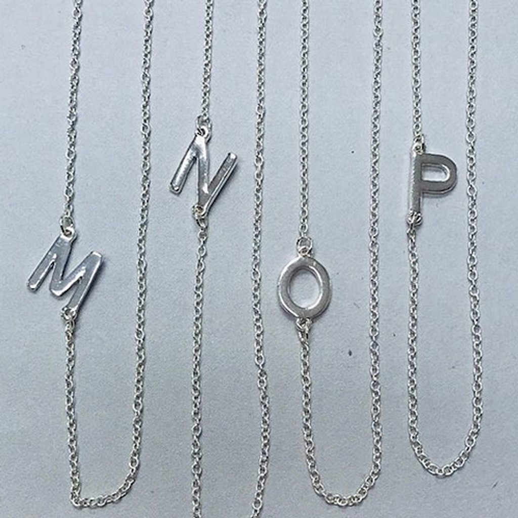 "Almost 1/2"" Sideways Initial Necklaces Stainless Steel"