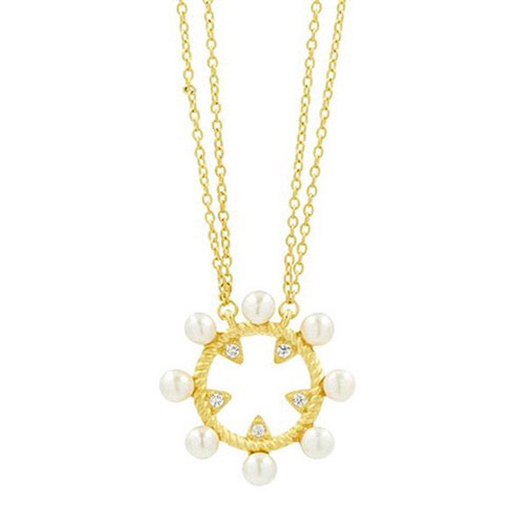 Freida Rothman Small Open Pearl with CZ Pendant