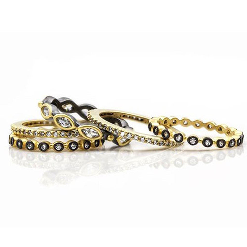 Freida Rothman Five Gold & Black Marquis Stackable Set