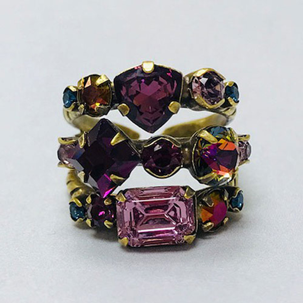 Sorrelli Hues of Purple Triple Band Ring
