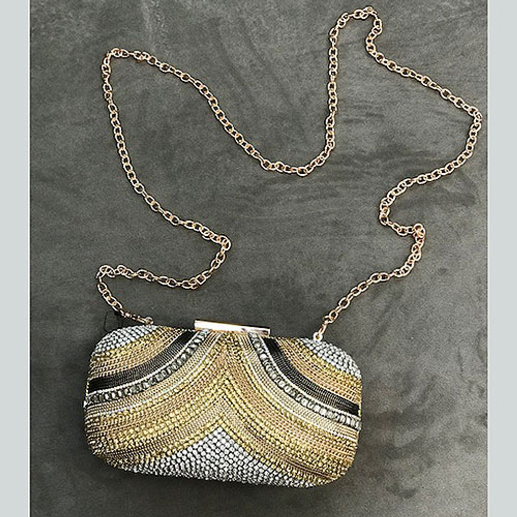 """Dripping in Jewels"" Embellished Gold Clutch"