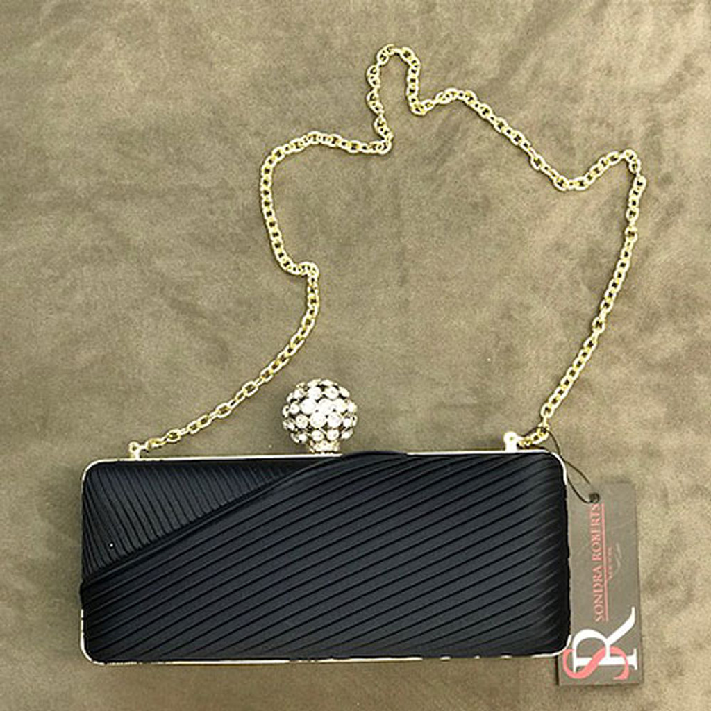 Navy Satin Pleated Clutch with Crystal Ball Clasp