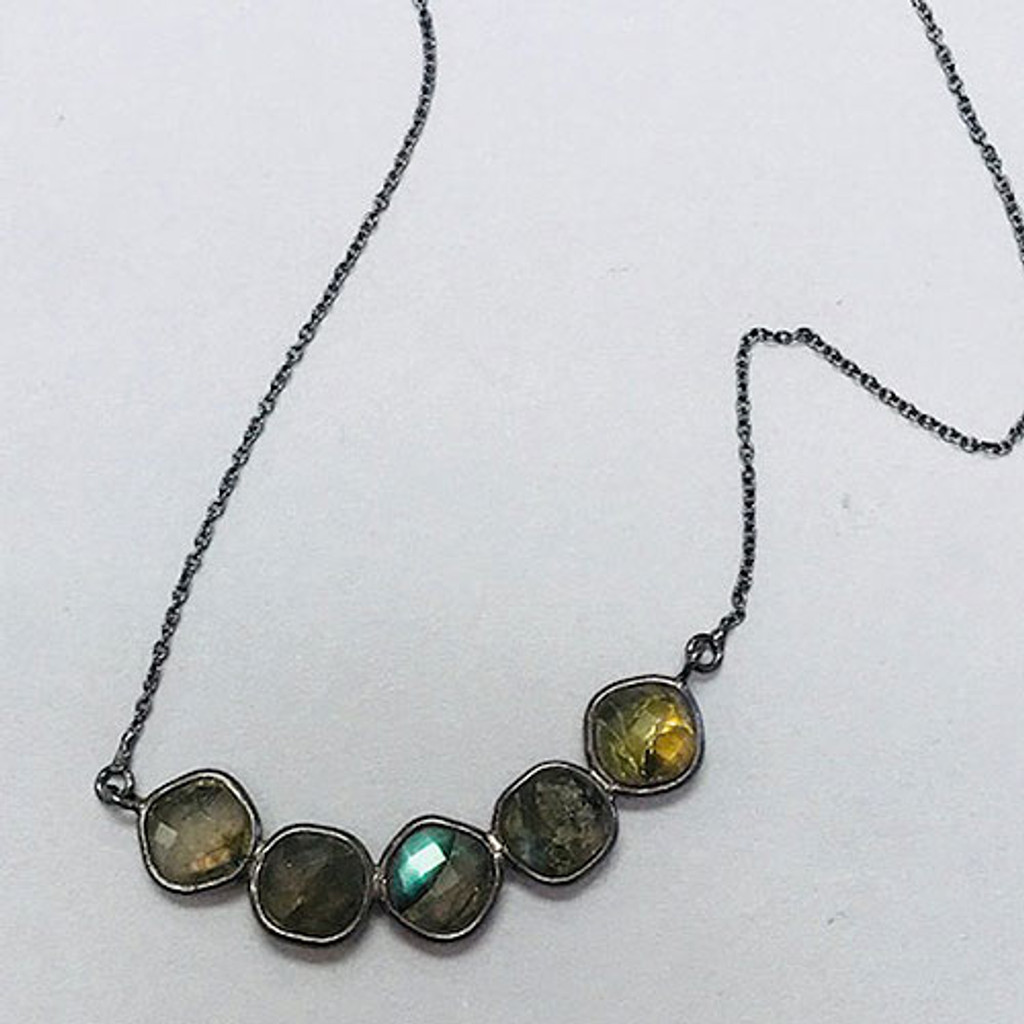Five Faceted Labradorite Bar Necklace