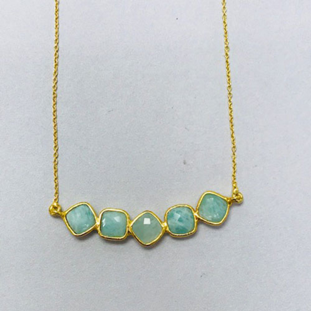 Five Faceted Amozonite Bar Gold Vermeil Necklace