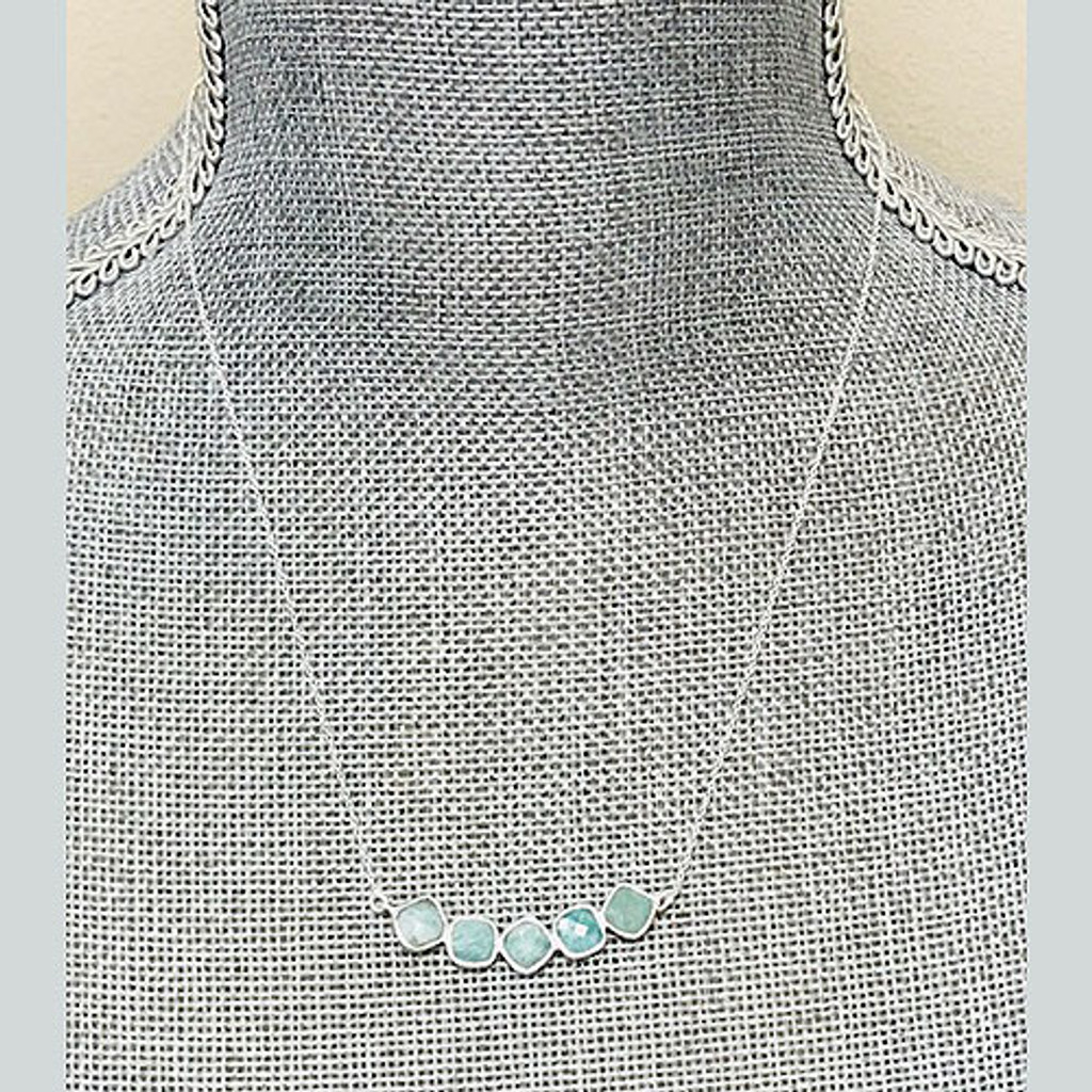 Five Faceted Amozonite Bar Sterling Silver Necklace
