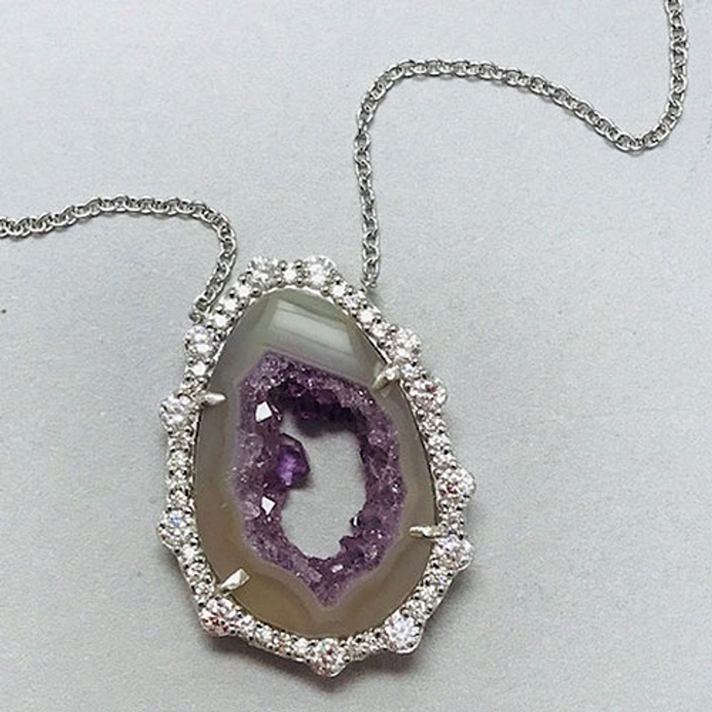 Amethyst Slice with Cubic Zirconia Necklace
