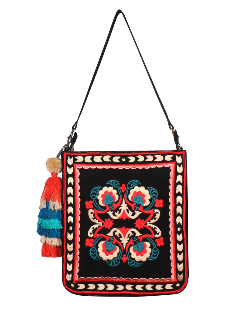 Thai Indo Fusion Embroidered Shoulder Hobo Bag