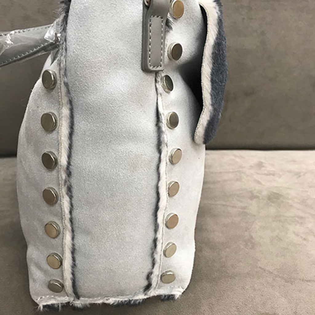 Light Gray Super Soft Faux Fur Slouchy Messenger Bag