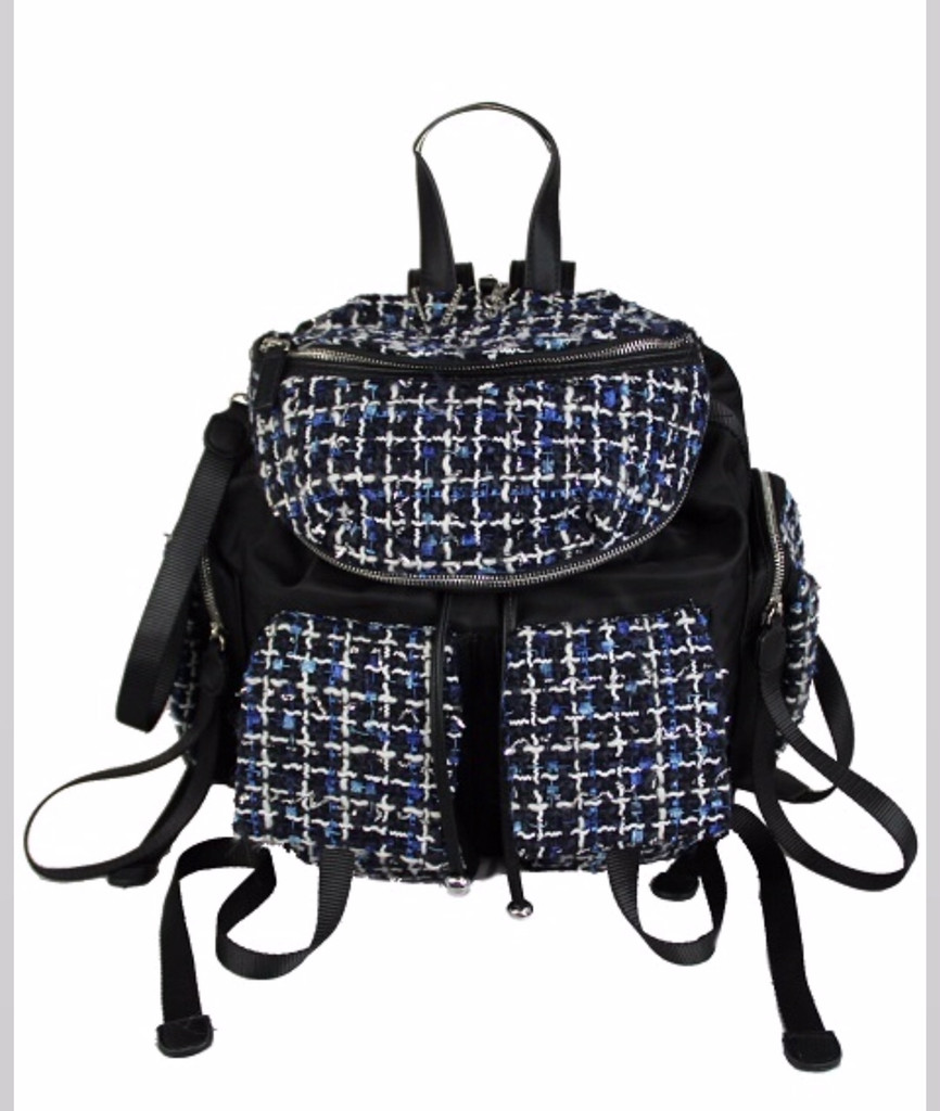 Miss CocoC Boucle and Nylon Backpack Blue