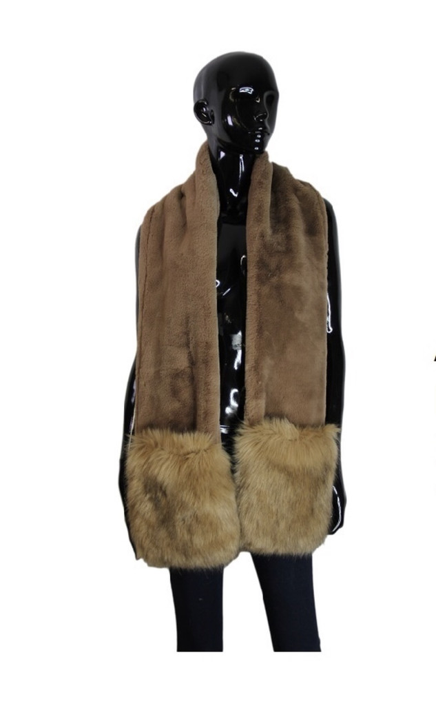 Luxurious Faux Fur Long Scarf With Pockets