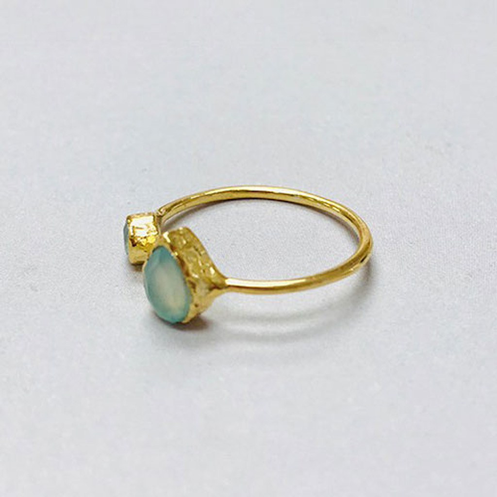 Aqua Blue Chalcedony Split 24K Gold Vermeil Ring