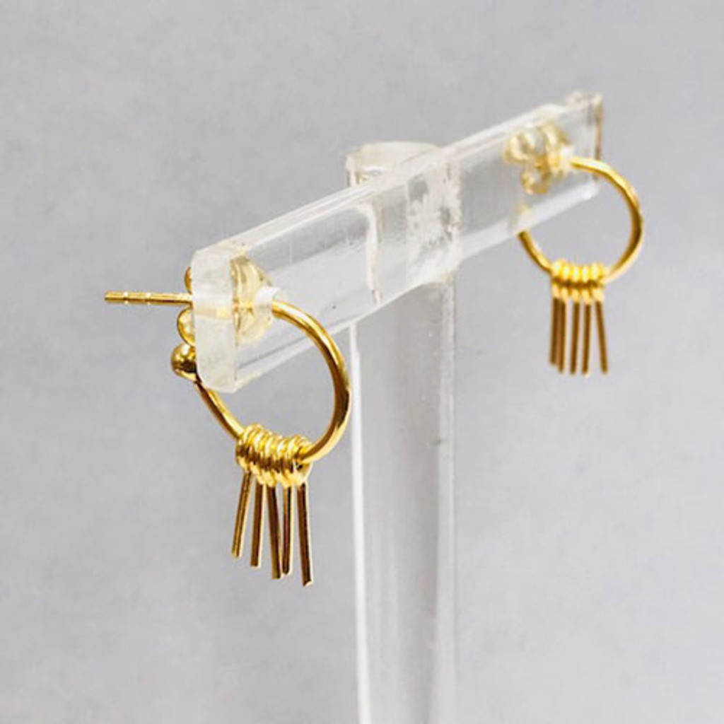 Dainty Gold Spike Dangle Hoops