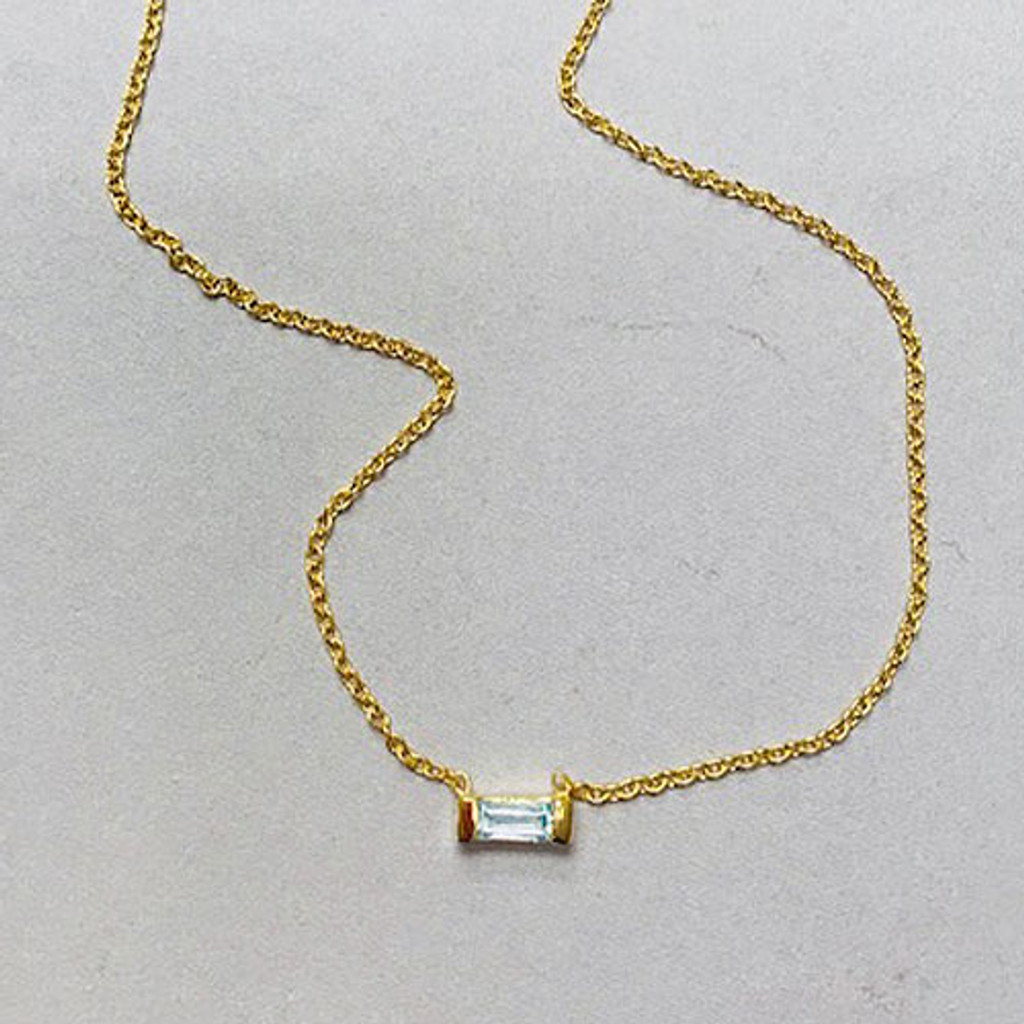 Blue Topaz Single Baguette Necklace